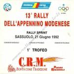 1992 - Rally Appennino Modenese, elenco iscritti (1^ parte)