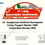 Rally Appennino Modenese 1994, elenco iscritti (1^ parte)